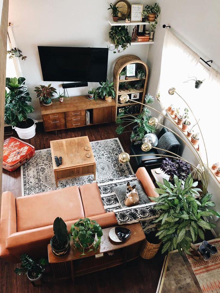 Living room, botanical, plants, mcm, mid century modern ...