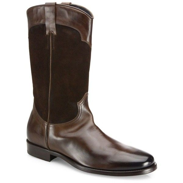 To Boot New York Mid-Calf Leather Boots ($620) ❤ liked on Polyvore featuring men's fashion, men's shoes, men's boots, apparel & accessories, tmoro, to boot new york mens shoes, mens slip on shoes, mens slip on boots, men's pull on boots and mens leather sole shoes