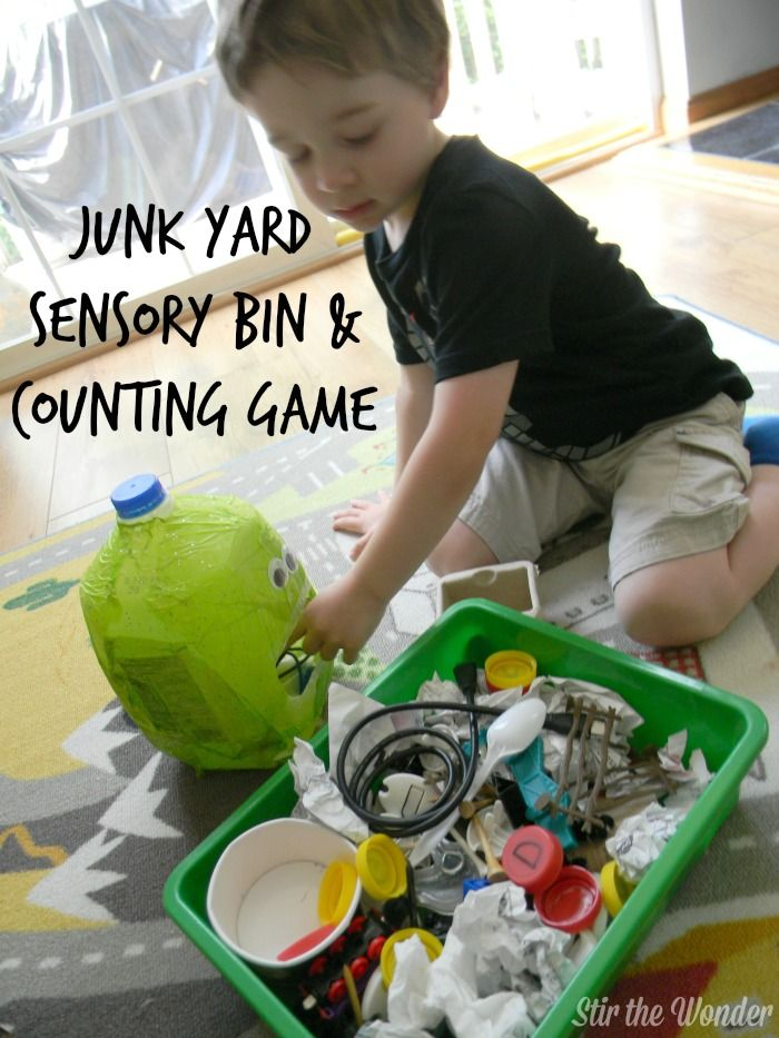 Junk Yard Sensory Bin & Counting Game | Stir the Wonder -- would be great for Earth Day, and talking about trash collectors