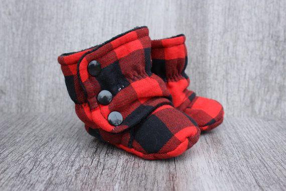 bottes unisexe de bébé, carreaux rouges noirs, bucheron, chasseur, chasse…