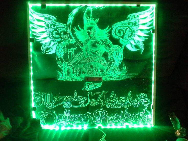 Glass engraving maori warrior green led