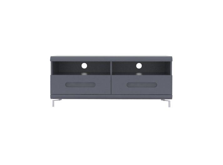 Meuble tv 2 tiroirs gris et bandeau gris - Fly