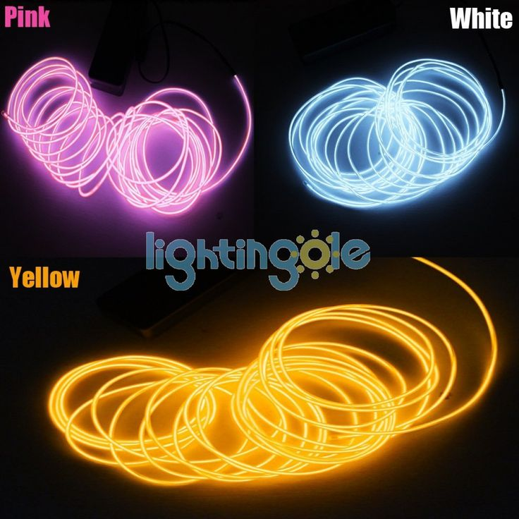4 modes 15FT 3PCS/Lot Yellow White Pink Neon Glowing Strobing Electroluminescent El Wires - LED String - Strips and Strings - Lightingole.com