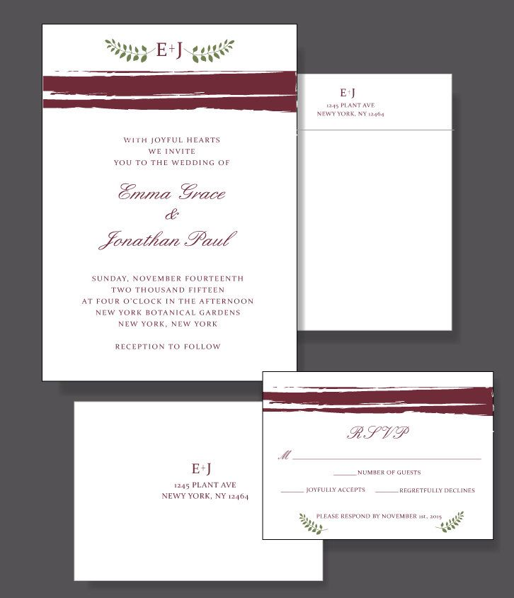 Marsala Wedding Invitation Suite - Custom Poster Wedding Invitaiton With 2015 Color of the Year by event123 on Etsy https://www.etsy.com/listing/217050420/marsala-wedding-invitation-suite-custom