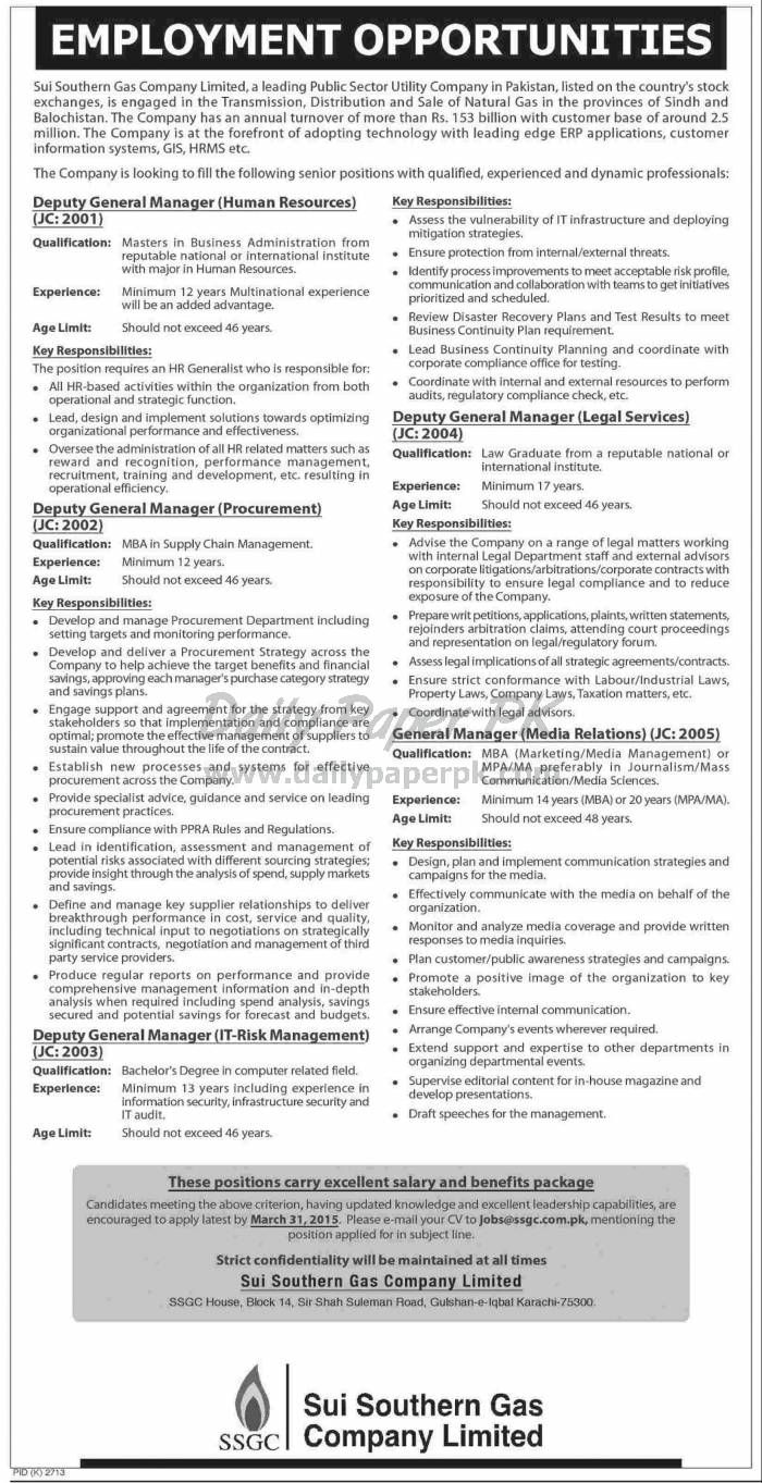 Sui Southern Gas Company Limited SSGCL Karachi Jobs Opportunities For #jobs detail and how to apply: #paperpk http://www.dailypaperpk.com/jobs/231801/sui-southern-gas-company-limited-ssgcl-karachi-jobs-opportunities