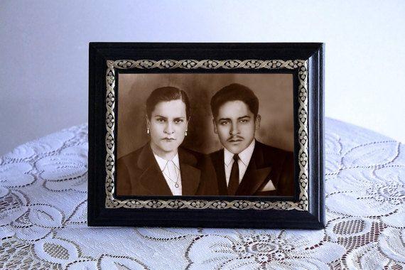 Restauración Digital, Regalo Día de la Madre, Recuerdo de Boda, Regalo de Aniversario, Fotografía Vintage, Portaretrato pintado a mano