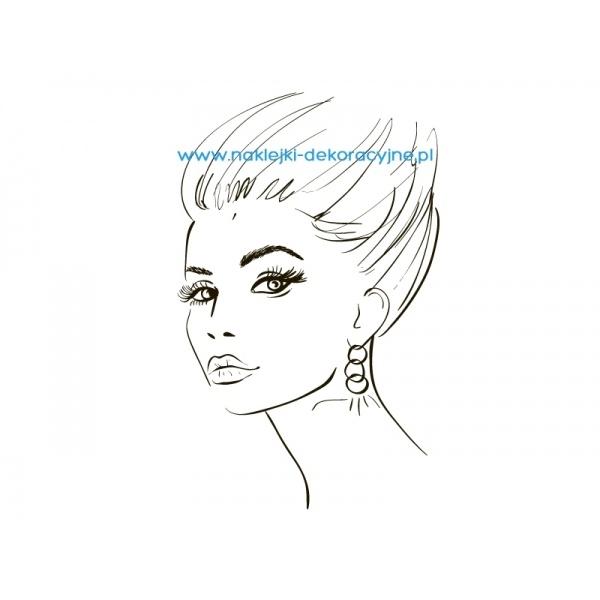 Piękna twarz kobiety - naklejka dekoracyjna lub szablon malarski - idealne do salonu fryzjerskiego.