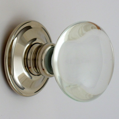 Merlin Glass Polished Nickel + Glass Door Knobs