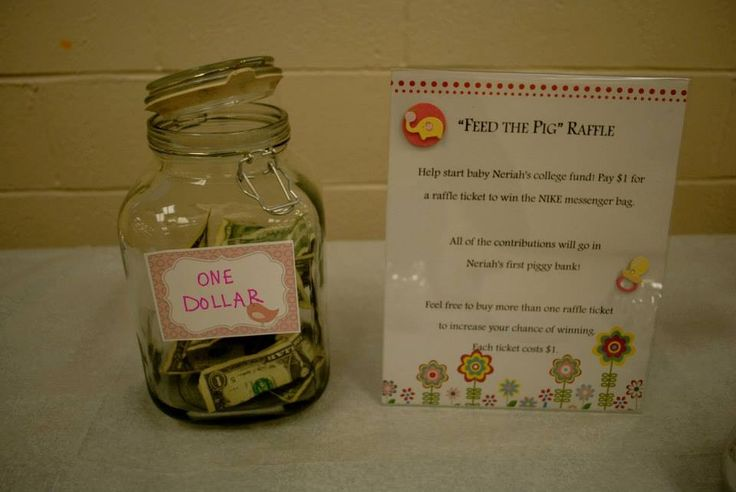 Baby Shower games  We asked guests to donate $1 to win a Prize. People were happy to do so, and we collected a nice little sum for the baby's piggy bank! And someone won a sweet prize!