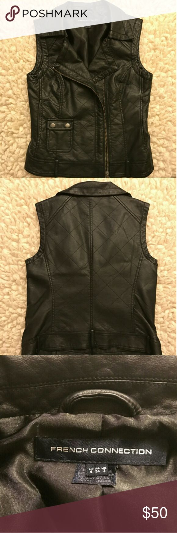 French Connection faux leather vest Got this stylish French Connection vest from Vegas last year In great condition -- almost new, worn twice only French Connection Jackets & Coats Vests