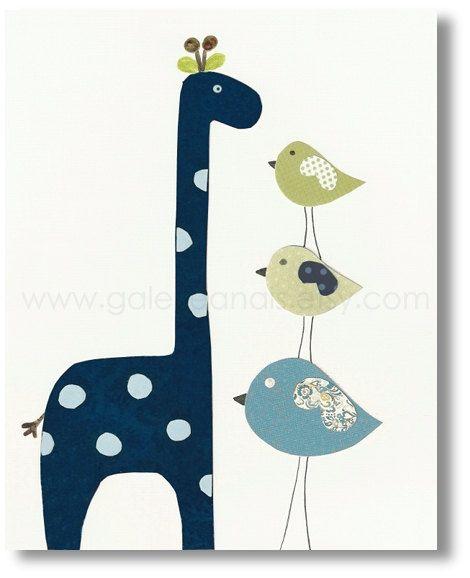 Baby Kamer Nursery Art - Kinderen Decor - kwekerij giraffe - kinderen kunst aan de muur - kwekerij vogels - kinderen vogels - Langer dan u print