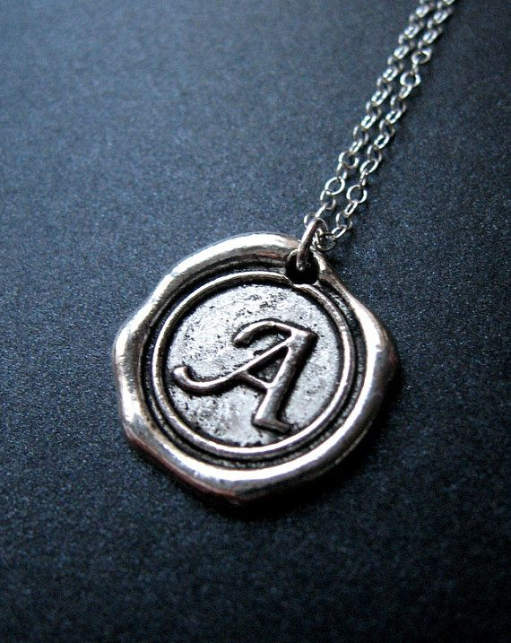 Wax Seal Necklace, Initial Necklace, Monogrammed, Personalized Jewelry, Silver Necklace, Bridesmaid Gift on Etsy, $23.00