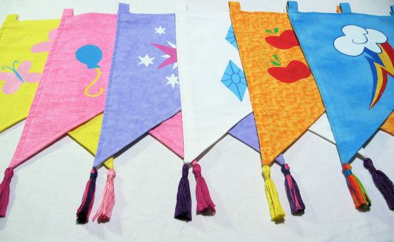Handpainted My Little Pony: Friendship is Magic Cutie Mark Wall Banners (Mane Six) on Etsy, $25.00