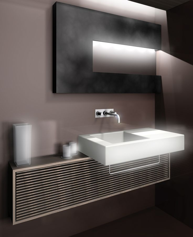 Bathroom render of ''Monginevro Hotel'' for Competition in Florence which ''Starhotels'' has got the first prize. #1st #Prize #Angular #Design #Form #Cubic #Maroon #Wood #Black #Metal #Sink #Led #Light #Interior #Bathroom #Architecture #ClaudioNardi #ClaudioNardiArchitects