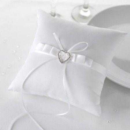 Ringpute Crystal Hjerte Hvit