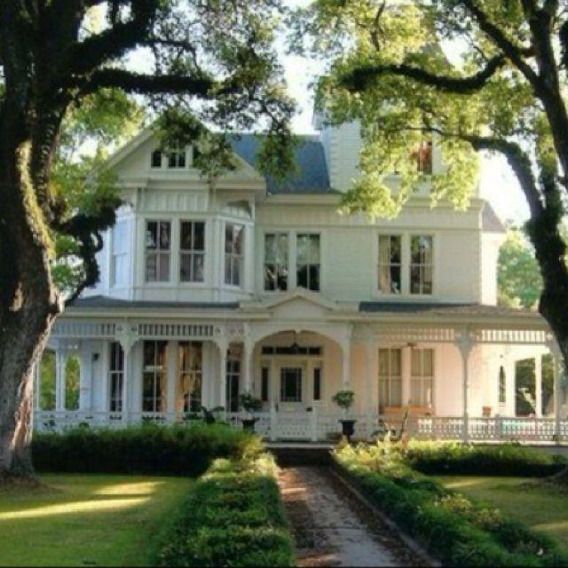 Beautiful white Victorian house.