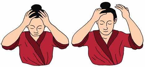 Peinarse con las yemas de los dedos, activa las cien reuniones o baihui 20 dm, aporta fuerza y vitalidad. Percutir la cabeza con las yemas de los dedos, activa la fluencia de sangre y qi en el cuero cabelludo, previene la alopecia