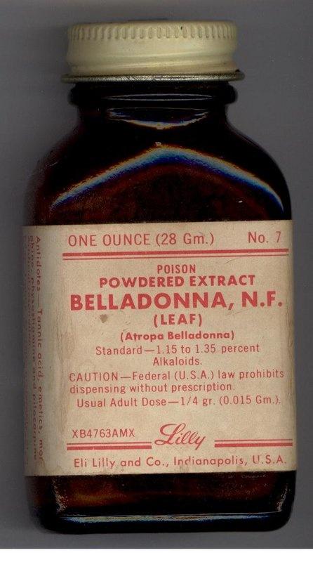 Eli Lilly POISON Bottle!~Belladonna Leaf!~C1950