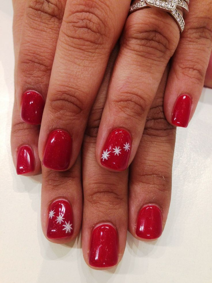 Bio Sculpture Gel colour:  #63 - Moulin Rouge with small snowflake stamps and a hint of iridescent glitter