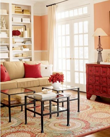 """Paint color"" Perhaps new color for the bedroom??Benjamin Moore Monticello Peach - Pottery Barn"