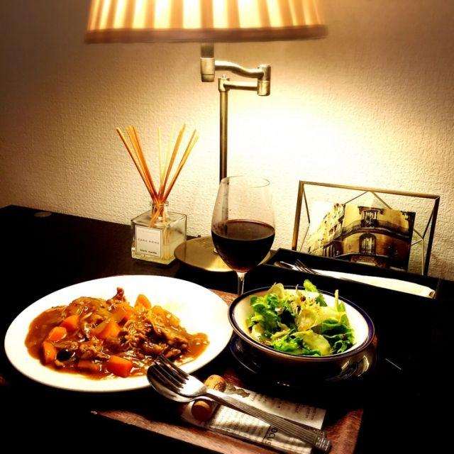 ワイン/夕ご飯/手作り/ワンプレート/カレー部/お料理もインテリアの一部…などのインテリア実例 - 2016-03-19 18:17:53   RoomClip(ルームクリップ)