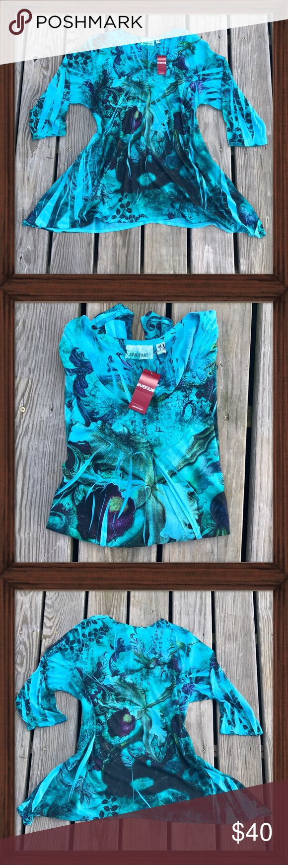 Avenue Teal Pattern Top This teal focused cool toned top features a handkerchief hemline. The scoop neckline is textured. It is in perfect brand new condition. Lightweight, stretchy material and very soft. Avenue Tops