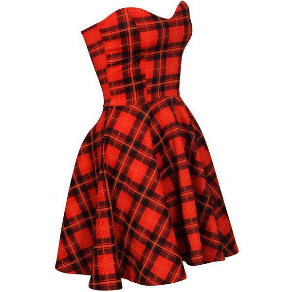 Strapless Tartan Skater Dress - Polyvore