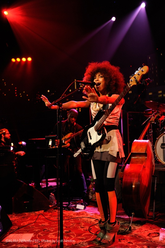 "Performance moment of ACL Live. Esperanza Spalding's wearing ""Mix/Cut/Paste"" shoes of the SHOP COLLECTION Spring_Summer 2013 WHAT'S MORE ALIVE THAN YOU™. #EsperanzaSpalding #jazz #soul #music #live #Austin #shoes #whatsmorealivethanyou"