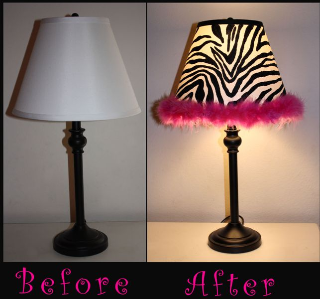 DIY Zebra lamp.  Where Paygie learned to love zebra, I don't know... but it def fits her personality.  ;)
