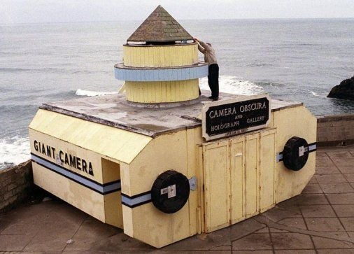 Giant Camera near Cliff House in the outer Richmond. The massive camera was originally an extension of Playland at the beach!