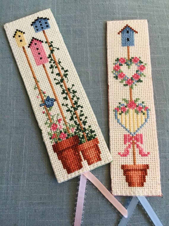 My Backyard Flower I Cross Stitch Bookmark by VivArtCastle on Etsy