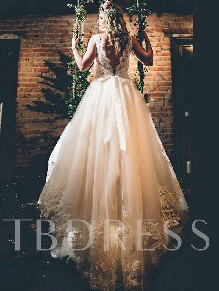 Straps Appliques Sashes Low Back Country Wedding Dress