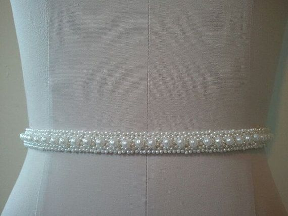 Wedding Belt, Bridal Belt, Sash Belt, White Pearl Belt  - Style B20022 on Etsy, $35.00