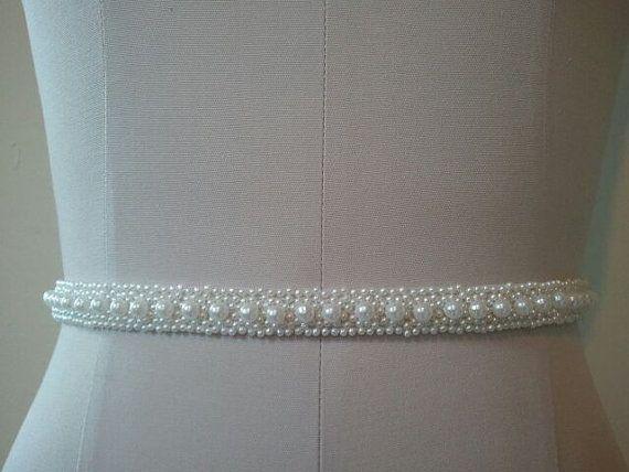 Wedding Belt, Bridal Belt, Sash Belt, White Pearl Belt - Style B20022 on Etsy, $35.00