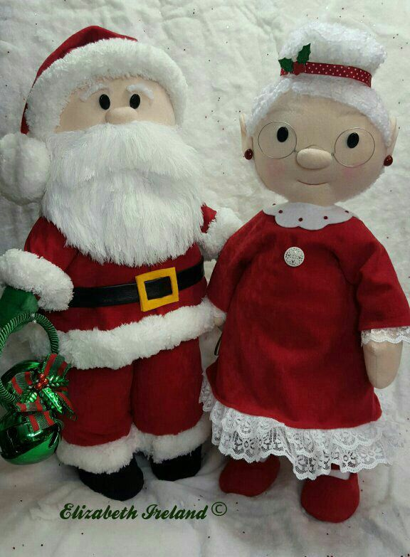 """Warm Wishes from my Home to Yours! www.theStudioGiftShop.etsy.com  22 """" Santa & Mrs.Claus  Originals by Elizabeth Ireland"""
