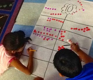 Basic Addition: How many different ways can you make 10? Students worked together to come up with ways of making ten using do-a-dots.