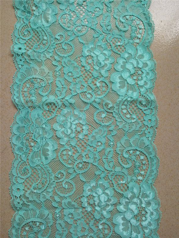 Turquoise lace  runner  7  wedding table by WeddingTableRunners
