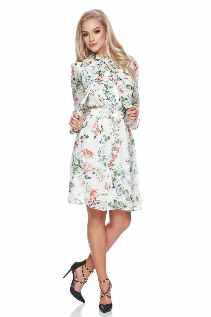 Comanda online, Rochie din voal PrettyGirl verde cu imprimeuri florale. Articole masurate, calitate garantata!