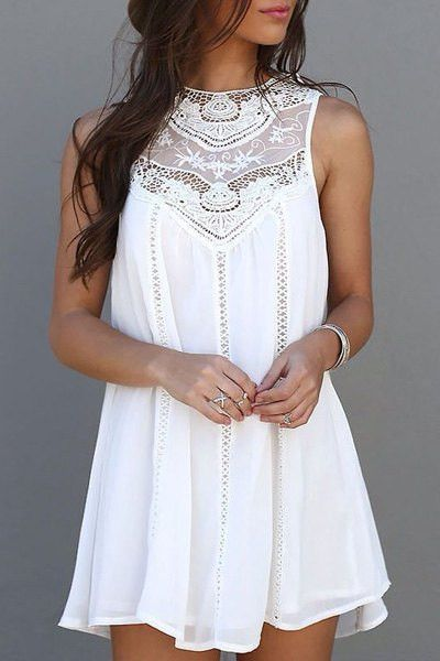 Summer Casual Sleeveless Lace Patchwork - Mini Sundress White - Trendy Closet Shop