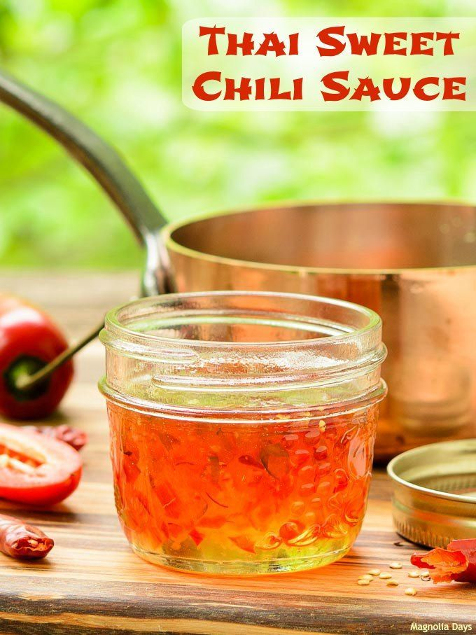 Thai Sweet Chili Sauce is thick, sweet, hot, sour, and spicy. It's a wonderful dip for egg rolls and vegetables or use it to baste grilled chicken, shrimp, and more. #SundaySupper