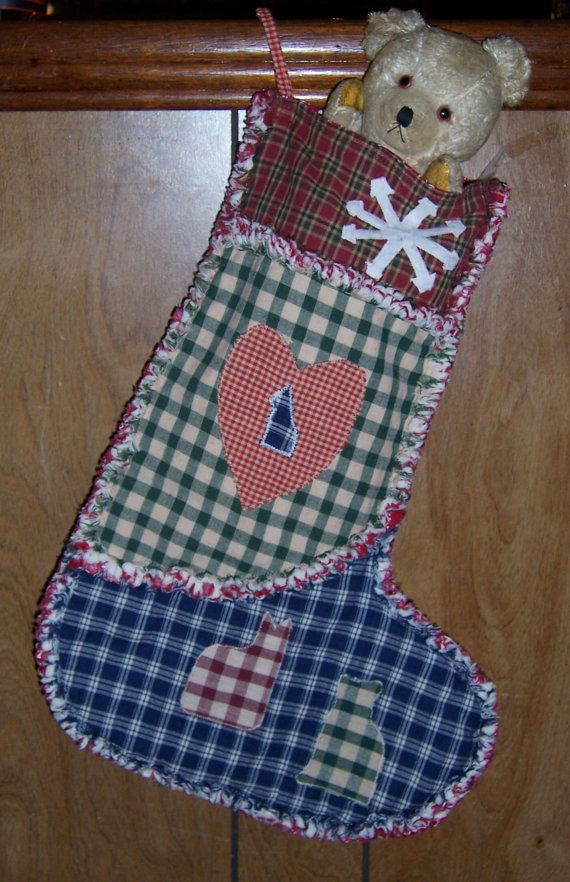Rag quilt stocking! LOVE! Etsy listing at https://www.etsy.com/listing/210002444/rag-quilt-christmas-stocking-country
