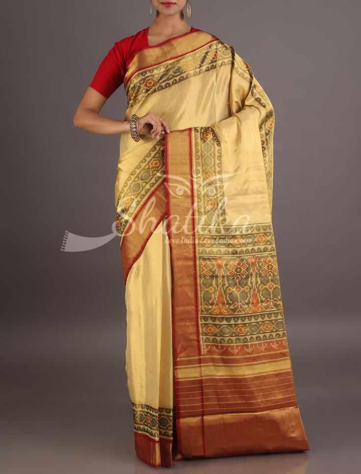 Sameeksha Plain Cream With Intricate Designed Border Pallu Pure Patola Silk Saree