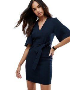 Нарядное платье - Темно-синее короткое платье-кимоно Asos Collection