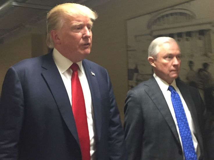"Donald Trump Huddles With Jeff Sessions To Push Immigration Reform | 9.9.15 |""The Senator has just been amazing on the issue,"" Trump told reporters as he met with Sessions, after Trump spoke against Obama's Iran deal. The two met on the Capitol steps and walked inside for a confidential, unannounced meeting. Sen. Sessions is widely regarded as the gold standard on immigration reform. Sessions' esteemed reputation on the issue has been well-earned."""