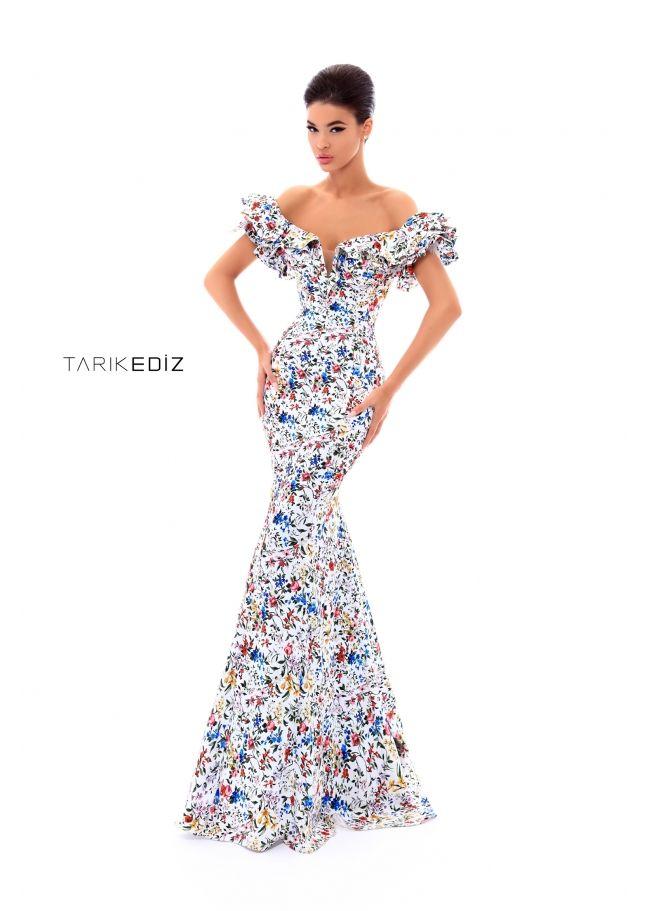 593873c5571 Tarik Ediz- Prom 2018 Collection Style  50306 - Ruffled off the shoulder  floral mermaid dress.