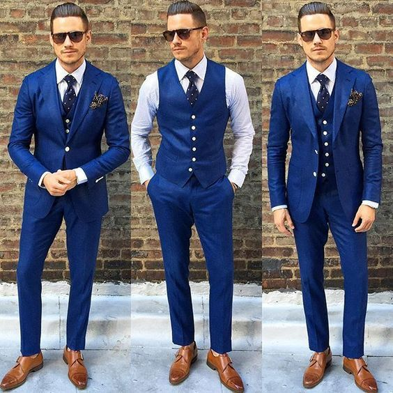 New Custom Made Royal Blue Men Suit Double Breasted Traje De Hombre Casual Slim Men Business Suits (Jacket+Pants+Vest)
