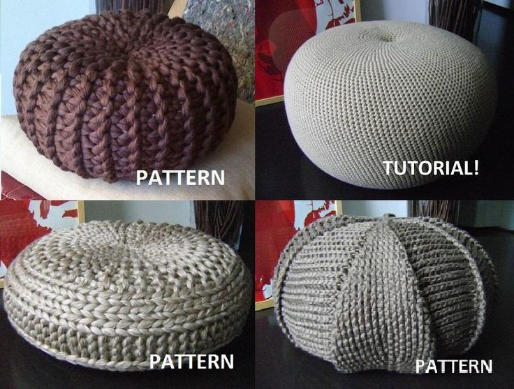 4 Knitted & Crochet Pouf Floor cushion  via Craftsy