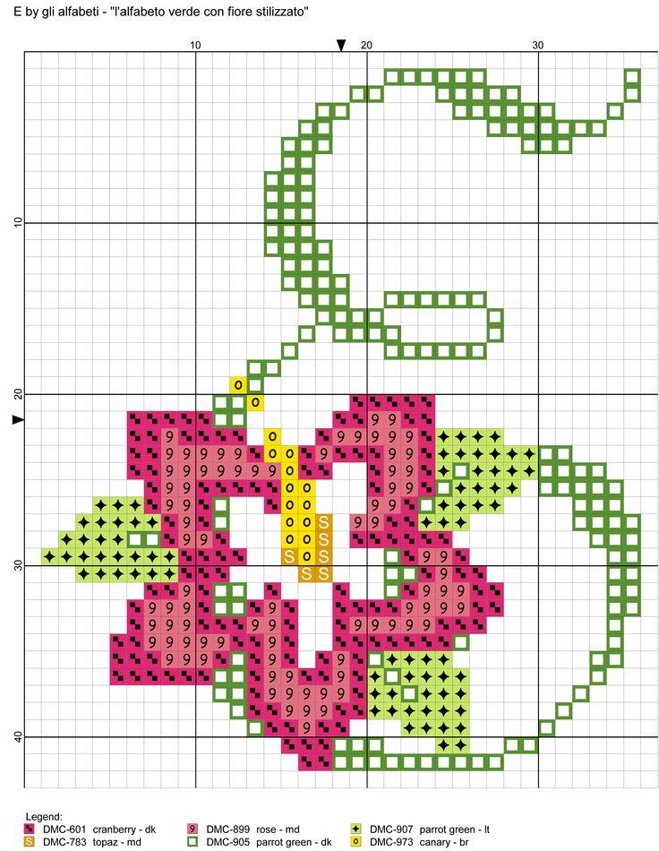 alfabeto verde con fiore stilizzato E