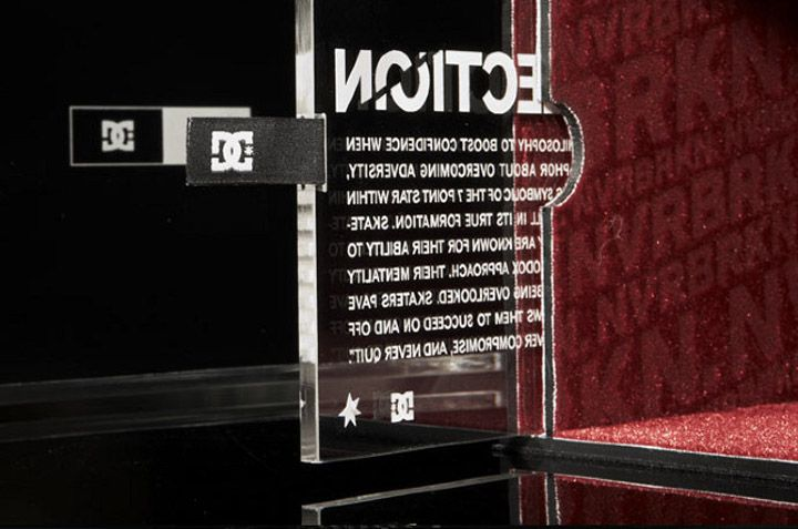 """Limited edition glass shoebox designed for DC Shoes' concept collection """"NVRBRKN."""""""