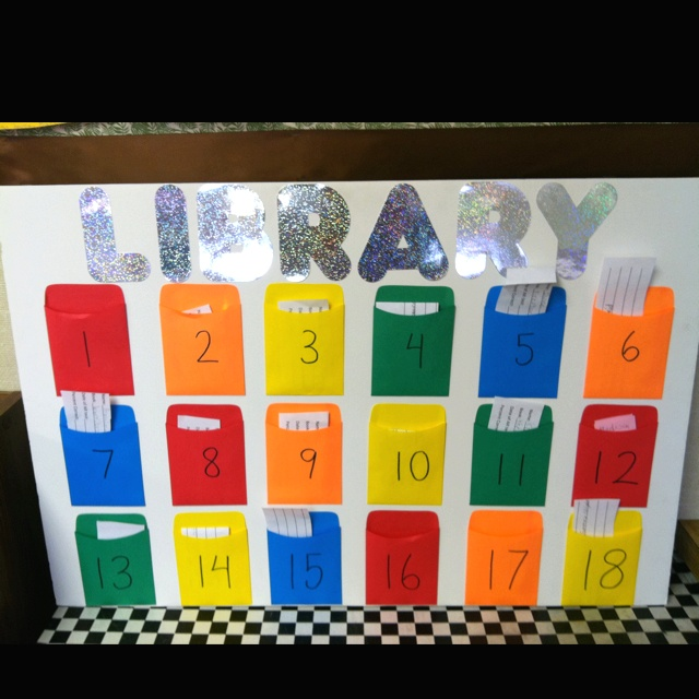 Double sided classroom library checkout board